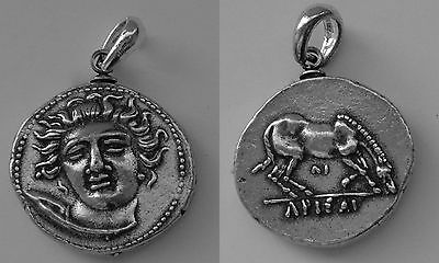 Larissa, Nymph of Thessaly Coin Pendant, Small Drachm Size,(# 79-Pen-S)