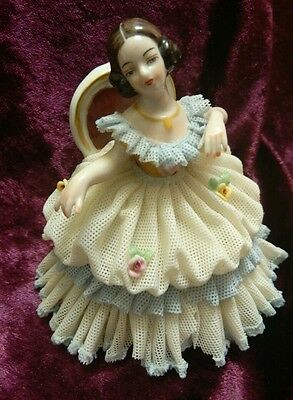 Elegant Dresden Germany Lady Woman Sitting Puffy Porcelain Lace Dress Figurine