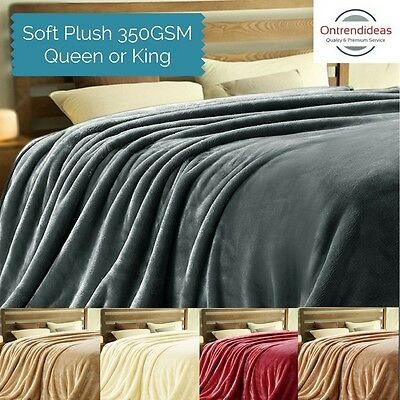 Super Soft Warm Micro Flannel Plush Blanket 350GSM Queen or King Size | Ramesses