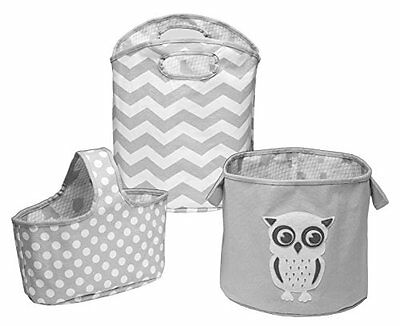 Delta Children 3 Piece Canvas Nursery Storage Set, Grey Owl...New, Free Shipping