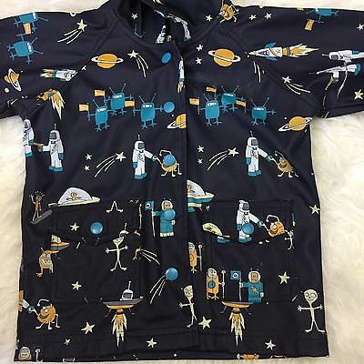 Rare hatley alien boys unlined hooded navy blue raincoat size 2