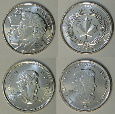 2005 and 2006 Canada 25 Cents Veteran and Bravery BU