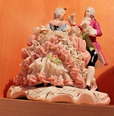 Antique Dresden Art FIGURINE Dancing Couple Courting Couple CHARITY