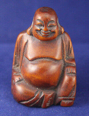 Old Chinese Buddhism Hand Carved Boxwood Wood Happy Buddha Statue