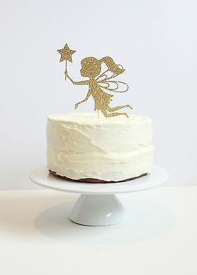 Gold Glitter Fairy with wand Cake Topper. 6 inches.