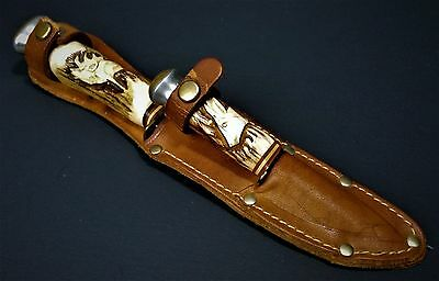 Baron Solingen Double Knife Set w/Sheath-Carved Stag Handle-Germany-Rare-Vintage