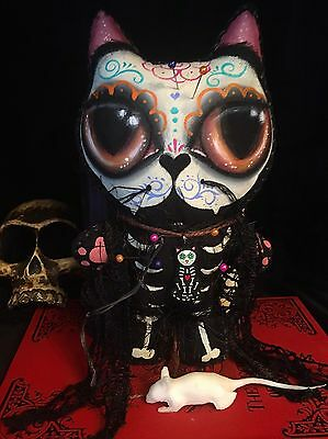 Voodoo doll new orleans day of the dead cat ooak animal rescue spooky handmade