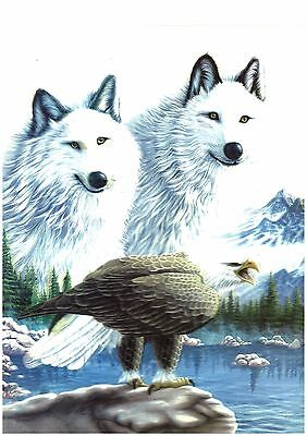 wolf eagle 3D LenticularHolographic Stereoscopic Picture Wall Art