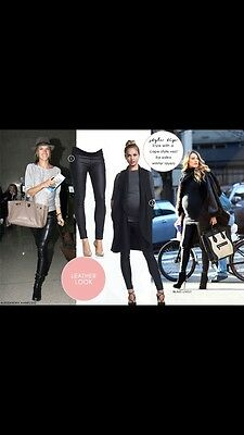 Soon Maternity Coated Skinny Jeans Stretch Pants Size 12 10 Black As New