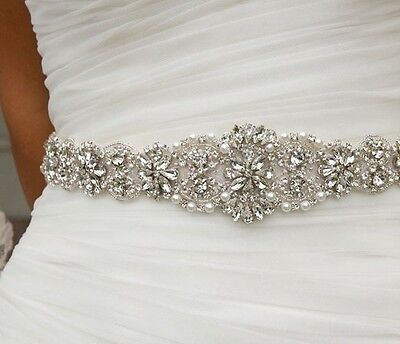 Wedding Bridal Sash Belt, Crystal Wedding Dress Sash Belt = 17 INCH LONG