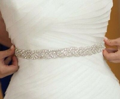 Wedding Bridal Sash Belt, Crystal Wedding Dress Sash Belt