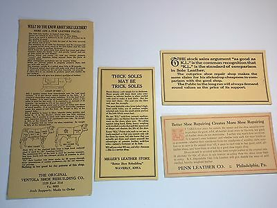 Ephemera lot Leather Shoe repair Cobbler advertising cards Cowhide Thick Sole