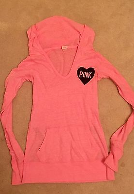 Victorias Secret PINK Hooded Pullover Sweater Sweatshirt Hoodie Womens Size Xs