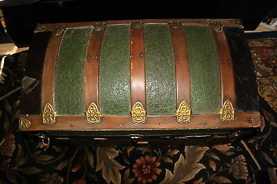 Antique Green Camel Back Steamer Trunk With Brass Hardware