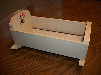 VINTAGE DOLL CHILDRENS KIDS PRIMITIVE WOOD Small ROCKING CRIB CRADLE Duck Decal