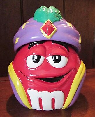 *DARLING* RED M&Ms M&M Halloween Candy / Cookie Jar w Fortune Teller Costume