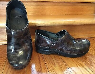 DANSKO Professional BLACK & GRAY Patent Leather Clogs Shoes Size 39 US 8.5 9