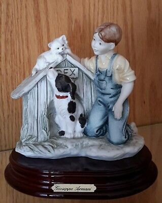 """Giuseppe Armani """"difficult Situation"""" Boy With Dog Named Rex & Cat #0257C"""