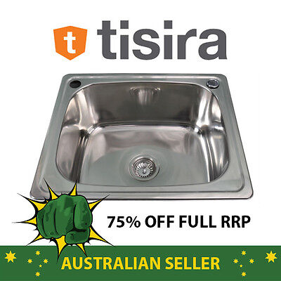Tisira 35 Litre Single Bowl Laundry Tub Sink (TLLE35) with Overflow & Waste Kit