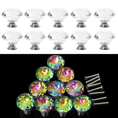 10 / 20pcs Clear Crystal Glass Diamond Knob Drawer Cupboard Cabinet Pull Handles