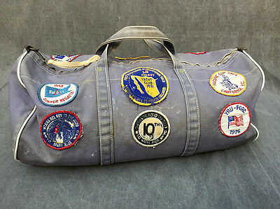 60s Ratsey & Lapthorn Sailmakers Gray Canvas Duffel Bag PATCHES