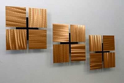 Metal Abstract Modern Home Decor Wall Art Sculpture - Golden Three by Jon Allen