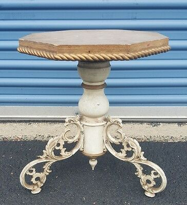 Antique 1867 Industrial Machine Wood Cast Iron Stool Chair Table Base Steampunk