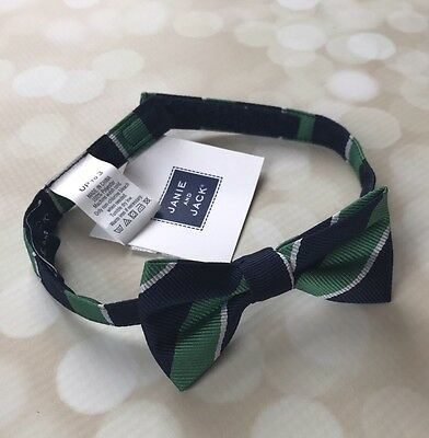 NWTS Janie And Jack Boys Bow Tie Green Navy Blue Up To 3T