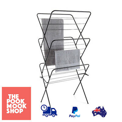 Clothes Drying Rack Black Airer Laundry Hanger Foldable 3 Large Tier Collapsible