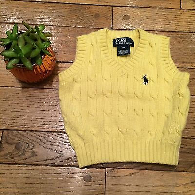 Polo Ralph Lauren Baby Boy 9 Month Sweater Vest Yellow Blue Pony Spring Cotton