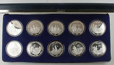 TURKS & CAICOS 1992 500th Anniversary of COLUMBUS SILVER 10 COIN PROOF SET +OGP