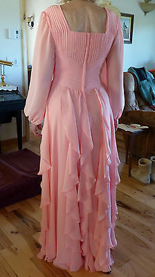 Mother-of-the-Bride Floor-Length Chiffon Dress - Coral, Custom Size 10
