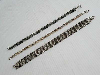 "3 OLD COSTUME JEWELRY METAL DANCE BRACELETS 43grams 6 3/4"" long THAILAND SIAM"