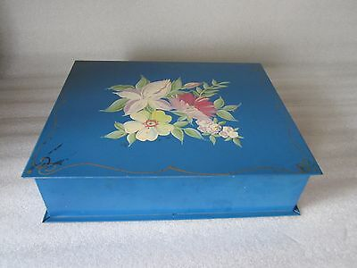 Rare Antique Hand Painted Tin Jewelry Box Made in USA