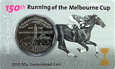 2010 50c RUNNING OF THE MELBOURNE CUP Coin on Card
