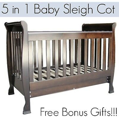 BRAND NEW 5 In 1 Brown Baby Toddler Wooden Sleigh Cot Crib Bed with Mattress