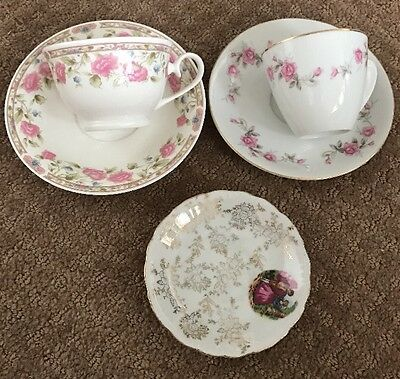 2 Porcelain Cup And Saucers - Lyric Rose And Dusk Rose
