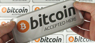 "2 X ""Bitcoin Accepted Here"" Waterproof Shop Window Signs Decals Stickers BTC"