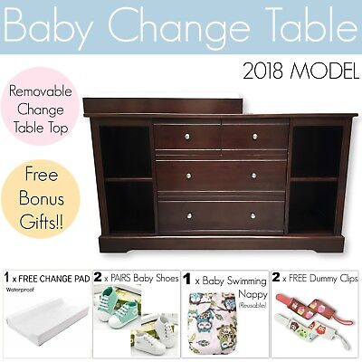 Baby Change Table 4 DRAWER BROWN Chest Dresser Cabinet Changer Nursery
