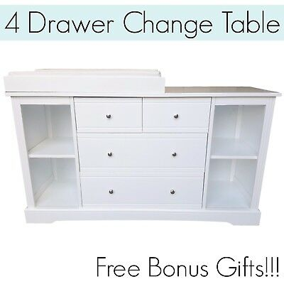 4 DRAWER WHITE Baby Change Table Chest Dresser Cabinet Changer Nursery