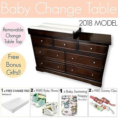 7 DRAWER BROWN Baby Change Table Chest Dresser Cabinet Changer Nursery