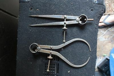 Vintage Antique Moore & Wright Spring Calipers & Divider