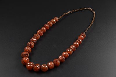 Natural Stone Necklace with Old Round Melon Shaped Carnelian Beads From Nepal