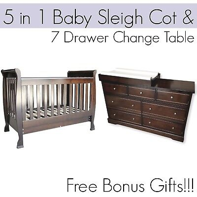 5 in 1 Dropside Baby Sleigh Cot and 7 DRAWER BROWN Change Table Package
