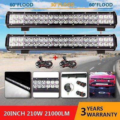 """2x 20"""" inch 210W Philips LED Light Bar  Flood Spot Combo Work Driving Offroad"""