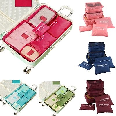Waterproof 6Pcs Travel Storage Bags Clothes Packing Cube Organizer Luggage H2B6