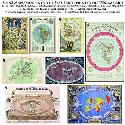 Flat Earth Map Collection. 8 X A3 Posters On Thick 350Gsm Paper