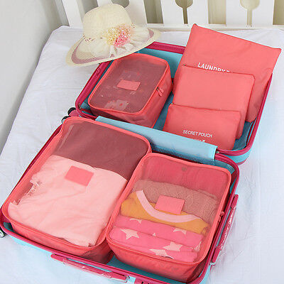 6pcs Set Travel Organizers Packing Cubes Luggage Suitcase Bags Accessories Pouch