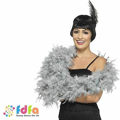 SILVER DELUXE FEATHER BOA 6ft HEN NIGHT Womens Ladies Fancy Dress Accessory
