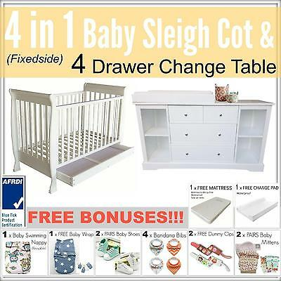 4 in 1 FIXEDSIDE Baby Sleigh Cot and 4 DRAWER WHITE Change Table Package